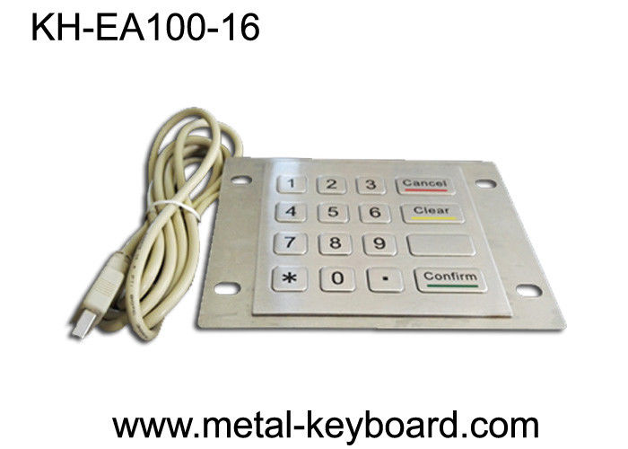 16 Keys Industrial Metal Keyboard with Rugged Stainless Steel Material