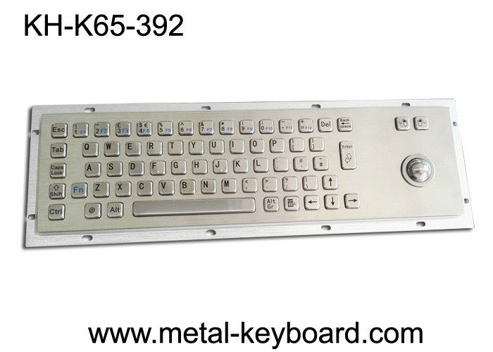 Metal Rugged Industrial Keyboard with Trackball , 65 Keys Vandal proof